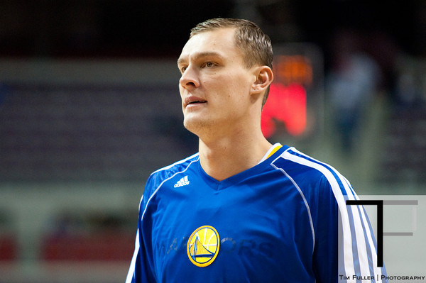 Dec 5, 2012; Auburn Hills, MI, USA; Golden State Warriors power forward Andris Biedrins (15) before the game against the Detroit Pistons at The Palace. Mandatory Credit: Tim Fuller-USA TODAY Sports