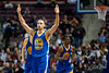 Dec 5, 2012; Auburn Hills, MI, USA; Golden State Warriors point guard Stephen Curry (30) celebrates during the third quarter against the Detroit Pistons at The Palace.The Warriors defeated the Pistons 104-97. Mandatory Credit: Tim Fuller-USA TODAY Sports