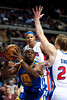 Dec 5, 2012; Auburn Hills, MI, USA;Detroit Pistons small forward Kyle Singler (25) guards Golden State Warriors power forward Carl Landry (7) during the second quarter at The Palace. Mandatory Credit: Tim Fuller-USA TODAY Sports