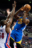 Dec 5, 2012; Auburn Hills, MI, USA; Golden State Warriors point guard Charles Jenkins (22) goes to the basket against Detroit Pistons power forward Jason Maxiell (54) during the second quarter at The Palace. Mandatory Credit: Tim Fuller-USA TODAY Sports