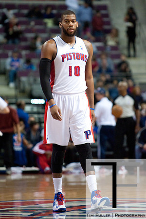 Dec 5, 2012; Auburn Hills, MI, USA; Detroit Pistons center Greg Monroe (10) during the third quarter against the Golden State Warriors at The Palace.The Warriors defeated the Pistons 104-97. Mandatory Credit: Tim Fuller-USA TODAY Sports