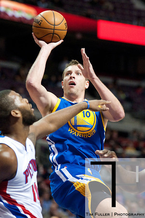 Dec 5, 2012; Auburn Hills, MI, USA; Golden State Warriors power forward David Lee (10) during the first quarter against the Detroit Pistons at The Palace. Mandatory Credit: Tim Fuller-USA TODAY Sports
