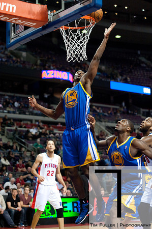 Dec 5, 2012; Auburn Hills, MI, USA; Golden State Warriors small forward Harrison Barnes (40) grabs a rebound during the third quarter against the Detroit Pistons at The Palace.The Warriors defeated the Pistons 104-97. Mandatory Credit: Tim Fuller-USA TODAY Sports