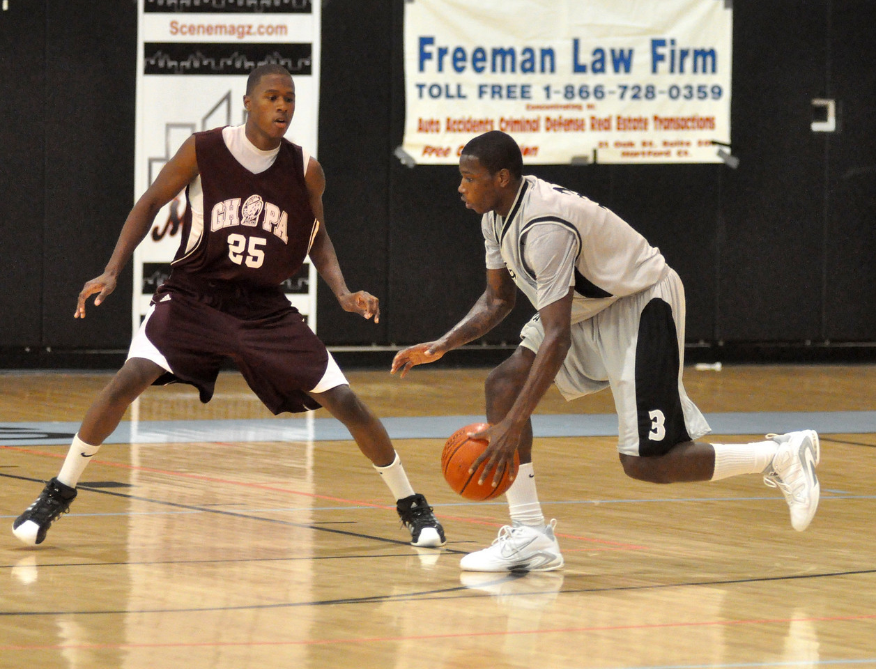 Terry Williams guards Steve Samuels during Sunday nights game between Harte Nissan and Simonize. (7/18/2010)