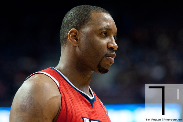 Mar 9, 2012; Auburn Hills, MI, USA; Atlanta Hawks small forward Tracy McGrady (1) during the second quarter against the Detroit Pistons at The Palace. Mandatory Credit: Tim Fuller-US PRESSWIRE