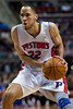 Mar 9, 2012; Auburn Hills, MI, USA; Detroit Pistons small forward Tayshaun Prince (22) during the second half against the Atlanta Hawks at The Palace. Mandatory Credit: Tim Fuller-US PRESSWIRE