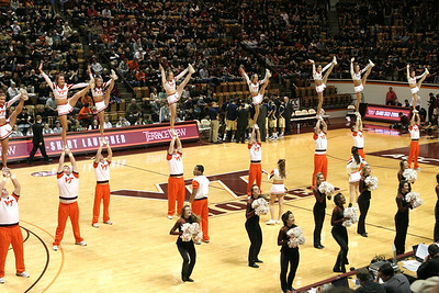 The Hi Techs and the Hokie cheerleaders perform during a time-out.