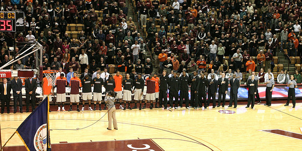 The team lines up for the National Anthem.  Note that five players are not dressed out - all out for the season due to injuries.  That's 1/3 of the team and a significant chunk of the scholarship players.  Not to mention most of the biggest players.