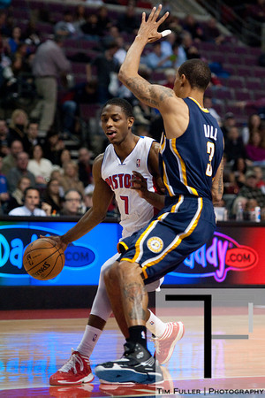 Dec 15, 2012; Auburn Hills, MI, USA; Detroit Pistons point guard Rodney Stuckey (3) drives to the basket against Indiana Pacers point guard George Hill (3) during the first quarter at The Palace. Mandatory Credit: Tim Fuller-USA TODAY Sports