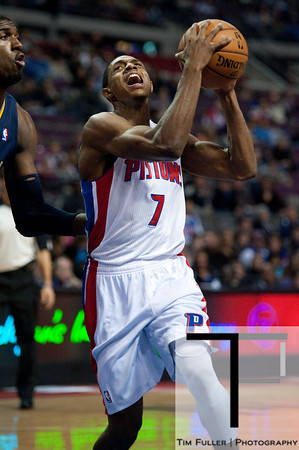 Dec 15, 2012; Auburn Hills, MI, USA; Detroit Pistons point guard Brandon Knight (7) drives to the basket against the Indiana Pacers during the first quarter at The Palace. Mandatory Credit: Tim Fuller-USA TODAY Sports