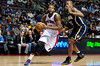 Dec 15, 2012; Auburn Hills, MI, USA; Detroit Pistons center Greg Monroe (10) drives past Indiana Pacers power forward David West (21) during the second quarter at The Palace. Mandatory Credit: Tim Fuller-USA TODAY Sports