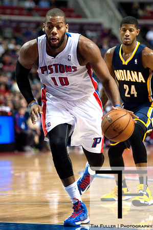 Dec 15, 2012; Auburn Hills, MI, USA; Detroit Pistons center Greg Monroe (10) drives to the basket against the Indiana Pacers during the second quarter at The Palace. Mandatory Credit: Tim Fuller-USA TODAY Sports