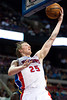 Dec 15, 2012; Auburn Hills, MI, USA; Detroit Pistons small forward Kyle Singler (25) lays it up against the Indiana Pacers during the second quarter at The Palace. Mandatory Credit: Tim Fuller-USA TODAY Sports