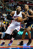 Dec 15, 2012; Auburn Hills, MI, USA; Indiana Pacers power forward David West (21) guards Detroit Pistons center Greg Monroe (10) during the second quarter at The Palace. Mandatory Credit: Tim Fuller-USA TODAY Sports