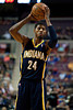 Dec 15, 2012; Auburn Hills, MI, USA; Indiana Pacers small forward Paul George (24) during the third quarter against the Detroit Pistons at The Palace. Pacers won 88-77. Mandatory Credit: Tim Fuller-USA TODAY Sports