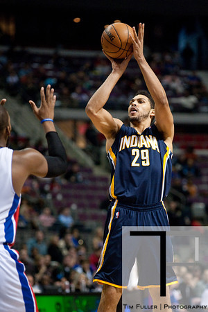 Dec 15, 2012; Auburn Hills, MI, USA; Indiana Pacers power forward Jeff Pendergraph (29) during the third quarter against the Detroit Pistons at The Palace. Pacers won 88-77. Mandatory Credit: Tim Fuller-USA TODAY Sports