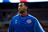Dec 15, 2012; Auburn Hills, MI, USA; Detroit Pistons center Andre Drummond (1) warms up before the game against the Indiana Pacers at The Palace. Mandatory Credit: Tim Fuller-USA TODAY Sports