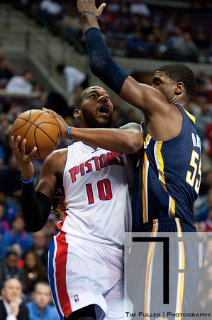 Dec 15, 2012; Auburn Hills, MI, USA; Indiana Pacers center Roy Hibbert (55) attempts to block Detroit Pistons center Greg Monroe (10) during the first quarter at The Palace. Mandatory Credit: Tim Fuller-USA TODAY Sports