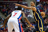 Dec 15, 2012; Auburn Hills, MI, USA; Detroit Pistons point guard Brandon Knight (7) guards Indiana Pacers point guard George Hill (3) during the third quarter at The Palace. Pacers won 88-77. Mandatory Credit: Tim Fuller-USA TODAY Sports