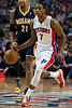 Dec 15, 2012; Auburn Hills, MI, USA; Detroit Pistons point guard Brandon Knight (7) brings the ball up court against the Indiana Pacers during the first quarter at The Palace. Mandatory Credit: Tim Fuller-USA TODAY Sports