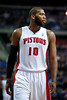 Dec 15, 2012; Auburn Hills, MI, USA; Detroit Pistons center Greg Monroe (10) during the second quarter against the Indiana Pacers at The Palace. Mandatory Credit: Tim Fuller-USA TODAY Sports