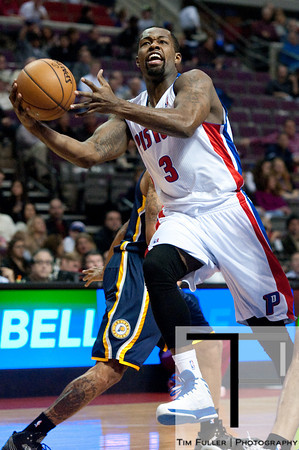 Dec 15, 2012; Auburn Hills, MI, USA; Detroit Pistons point guard Rodney Stuckey (3) goes to the basket against the Indiana Pacers during the first quarter at The Palace. Mandatory Credit: Tim Fuller-USA TODAY Sports