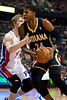 Dec 15, 2012; Auburn Hills, MI, USA; Detroit Pistons small forward Kyle Singler (25) guards Indiana Pacers small forward Paul George (24) during the third quarter at The Palace. Pacers won 88-77. Mandatory Credit: Tim Fuller-USA TODAY Sports