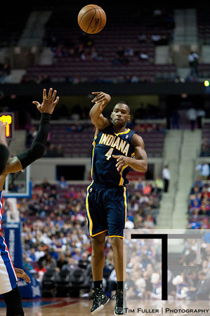 Dec 15, 2012; Auburn Hills, MI, USA; Indiana Pacers small forward Sam Young (4) passes the ball during the fourth quarter against the Detroit Pistons at The Palace. Pacers won 88-77. Mandatory Credit: Tim Fuller-USA TODAY Sports