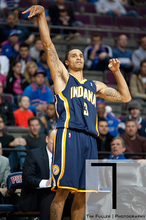 Dec 15, 2012; Auburn Hills, MI, USA; Indiana Pacers point guard George Hill (3) during the fourth quarter against the Detroit Pistons at The Palace. Pacers won 88-77. Mandatory Credit: Tim Fuller-USA TODAY Sports