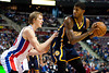 Dec 15, 2012; Auburn Hills, MI, USA; Detroit Pistons small forward Kyle Singler (left) guards Indiana Pacers small forward Paul George (right) during the third quarter at The Palace. Pacers won 88-77. Mandatory Credit: Tim Fuller-USA TODAY Sports