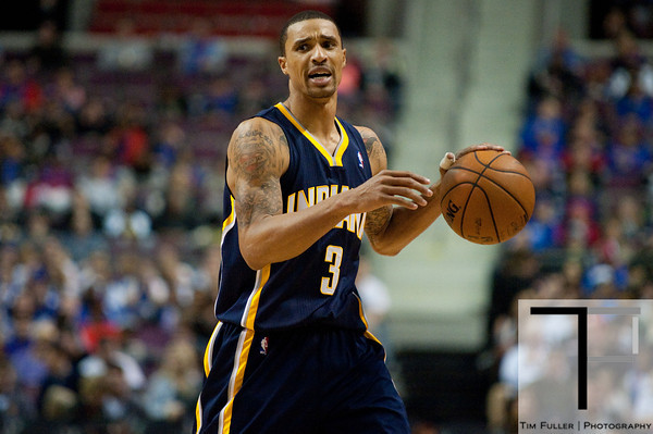 Dec 15, 2012; Auburn Hills, MI, USA; Indiana Pacers point guard George Hill (3) during the third quarter against the Detroit Pistons at The Palace. Pacers won 88-77. Mandatory Credit: Tim Fuller-USA TODAY Sports