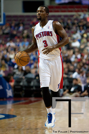 Dec 15, 2012; Auburn Hills, MI, USA; Detroit Pistons point guard Rodney Stuckey (3) during the first quarter against the Indiana Pacers at The Palace. Mandatory Credit: Tim Fuller-USA TODAY Sports
