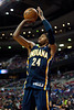 Dec 15, 2012; Auburn Hills, MI, USA; Indiana Pacers small forward Paul George (24) during the fourth quarter against the Detroit Pistons at The Palace. Pacers won 88-77. Mandatory Credit: Tim Fuller-USA TODAY Sports