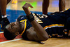 Dec 15, 2012; Auburn Hills, MI, USA; Indiana Pacers center Roy Hibbert (55) reacts after being injured during the second quarter against the Detroit Pistons at The Palace. Mandatory Credit: Tim Fuller-USA TODAY Sports