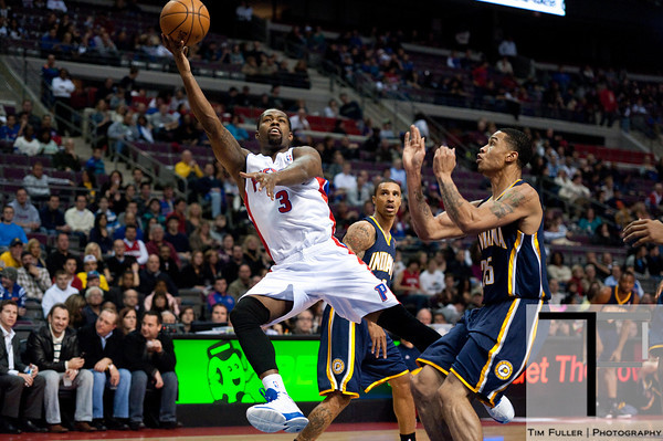 Dec 15, 2012; Auburn Hills, MI, USA; Detroit Pistons point guard Rodney Stuckey (3) lays it up during the first quarter against the Indiana Pacers at The Palace. Mandatory Credit: Tim Fuller-USA TODAY Sports
