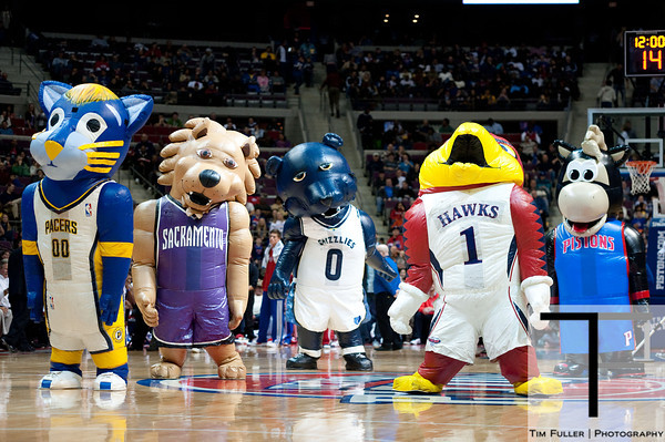 Feb 23, 2013; Auburn Hills, MI, USA; Mascots from Indiana Pacers, Sacramento Kings, Memphis Grizzlies, Atlanta Hawks, and Detroit Pistons perform during the game between the Detroit Pistons and the Indiana Pacers at The Palace. Pacers win 90-72. Mandatory Credit: Tim Fuller-USA TODAY Sports