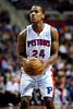 Feb 23, 2013; Auburn Hills, MI, USA; Detroit Pistons shooting guard Kim English (24) shoots a free throw during the second quarter against the Indiana Pacers at The Palace. Mandatory Credit: Tim Fuller-USA TODAY Sports