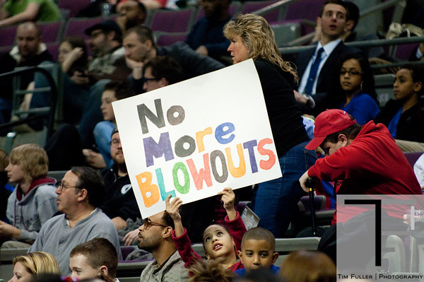 Feb 23, 2013; Auburn Hills, MI, USA; A Detroit Pistons fans holds a sign during the game against the Indiana Pacers at The Palace. Pacers win 90-72. Mandatory Credit: Tim Fuller-USA TODAY Sports
