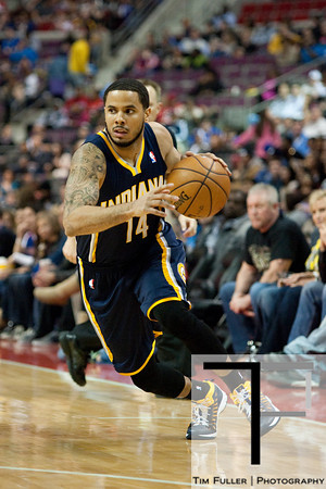 Feb 23, 2013; Auburn Hills, MI, USA; Indiana Pacers point guard D.J. Augustin (14) during the fourth quarter against the Detroit Pistons at The Palace. Pacers win 90-72. Mandatory Credit: Tim Fuller-USA TODAY Sports