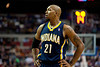 Feb 23, 2013; Auburn Hills, MI, USA; Indiana Pacers power forward David West (21) during the third quarter against the Detroit Pistons at The Palace. Pacers win 90-72. Mandatory Credit: Tim Fuller-USA TODAY Sports