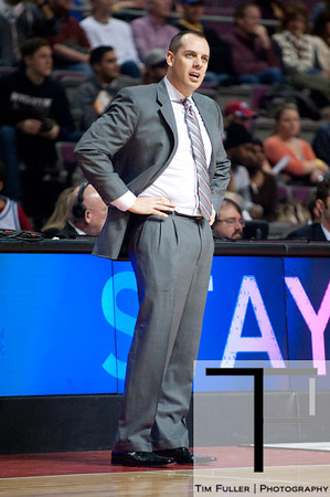 Feb 23, 2013; Auburn Hills, MI, USA; Indiana Pacers head coach Frank Vogel during the fourth quarter against the Detroit Pistons at The Palace. Pacers win 90-72. Mandatory Credit: Tim Fuller-USA TODAY Sports