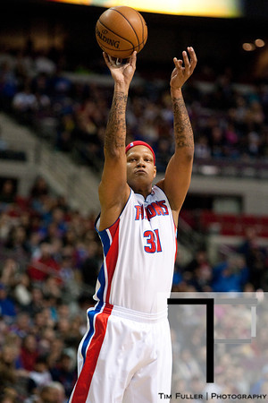 Feb 23, 2013; Auburn Hills, MI, USA; Detroit Pistons power forward Charlie Villanueva (31) shoots during the second quarter against the Indiana Pacers at The Palace. Mandatory Credit: Tim Fuller-USA TODAY Sports
