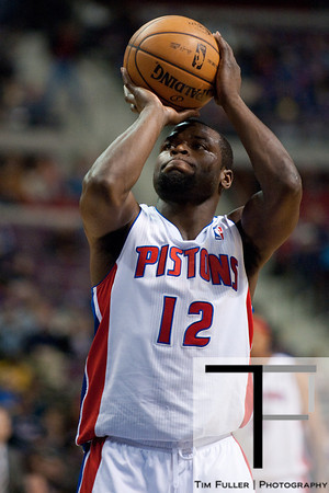 Feb 23, 2013; Auburn Hills, MI, USA; Detroit Pistons point guard Will Bynum (12) shoots a free throw during the second quarter against the Indiana Pacers at The Palace. Mandatory Credit: Tim Fuller-USA TODAY Sports