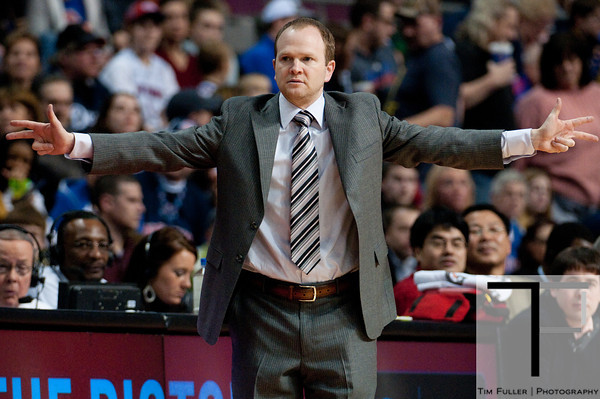 Feb 23, 2013; Auburn Hills, MI, USA; Detroit Pistons head coach Lawrence Frank during the second quarter against the Indiana Pacers at The Palace. Mandatory Credit: Tim Fuller-USA TODAY Sports