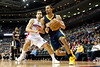 Feb 23, 2013; Auburn Hills, MI, USA; Indiana Pacers point guard George Hill (3) dribbles past Detroit Pistons point guard Jose Calderon (8) during the third quarter at The Palace. Pacers win 90-72. Mandatory Credit: Tim Fuller-USA TODAY Sports