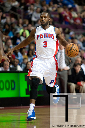 Feb 23, 2013; Auburn Hills, MI, USA; Detroit Pistons point guard Rodney Stuckey (3) brings the ball up court against the Indiana Pacers during the first quarter at The Palace. Mandatory Credit: Tim Fuller-USA TODAY Sports