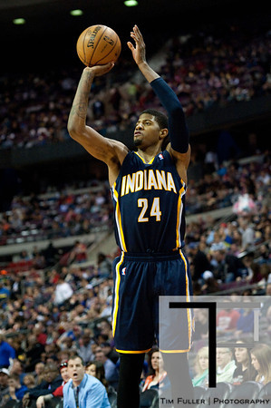Feb 23, 2013; Auburn Hills, MI, USA; Indiana Pacers small forward Paul George (24) during the third quarter against the Detroit Pistons at The Palace. Pacers win 90-72. Mandatory Credit: Tim Fuller-USA TODAY Sports