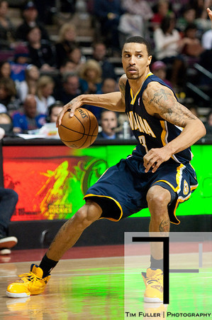 Feb 23, 2013; Auburn Hills, MI, USA; Indiana Pacers point guard George Hill (3) during the third quarter against the Detroit Pistons at The Palace. Pacers win 90-72. Mandatory Credit: Tim Fuller-USA TODAY Sports