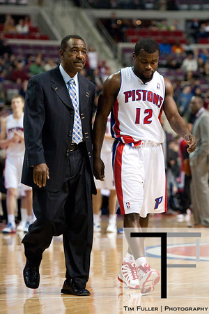 Feb 23, 2013; Auburn Hills, MI, USA; Detroit Pistons point guard Will Bynum (12) is ejected from the game after a flagrant foul during the fourth quarter against the Indiana Pacers at The Palace. Pacers win 90-72. Mandatory Credit: Tim Fuller-USA TODAY Sports