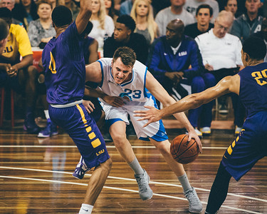 "VSCO Film Look: ""N - Kodak Gold 100 +++"" Zac Carter, Brandon Sampson - LSU Tigers Basketball (featuring Australian Ben Simmons ) vs South East Queensland All Stars, Auchenflower Stadium, Brisbane, Queensland, Australia; Tuesday 18 August 2015. Photos by Des Thureson - http://disci.smugmug.com"